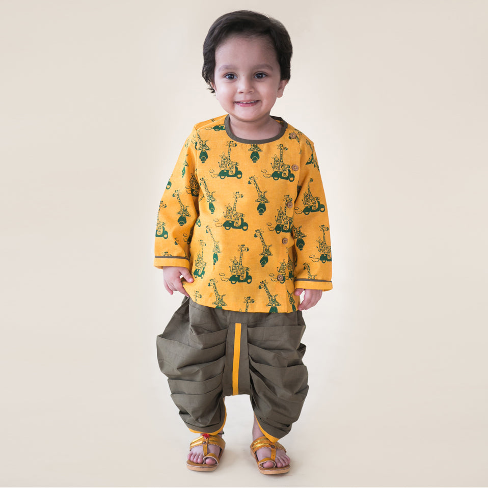 Boy Yellow Jungle Print Dhoti Set