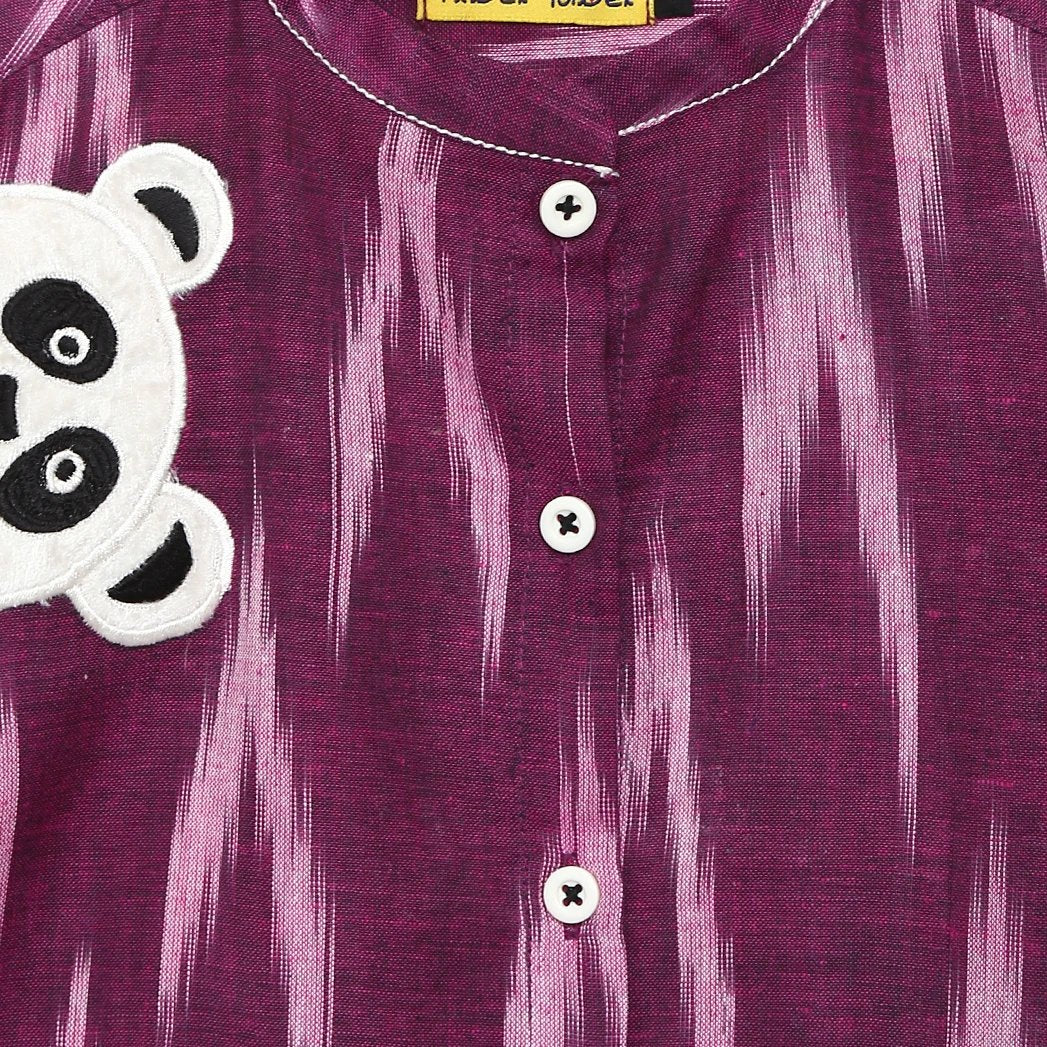 Boy Purple Ikat Panda Shirt