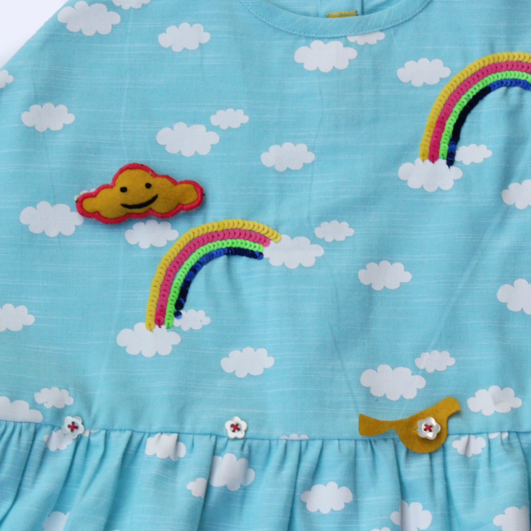 Girl Blue Cloud Print Dolo Top