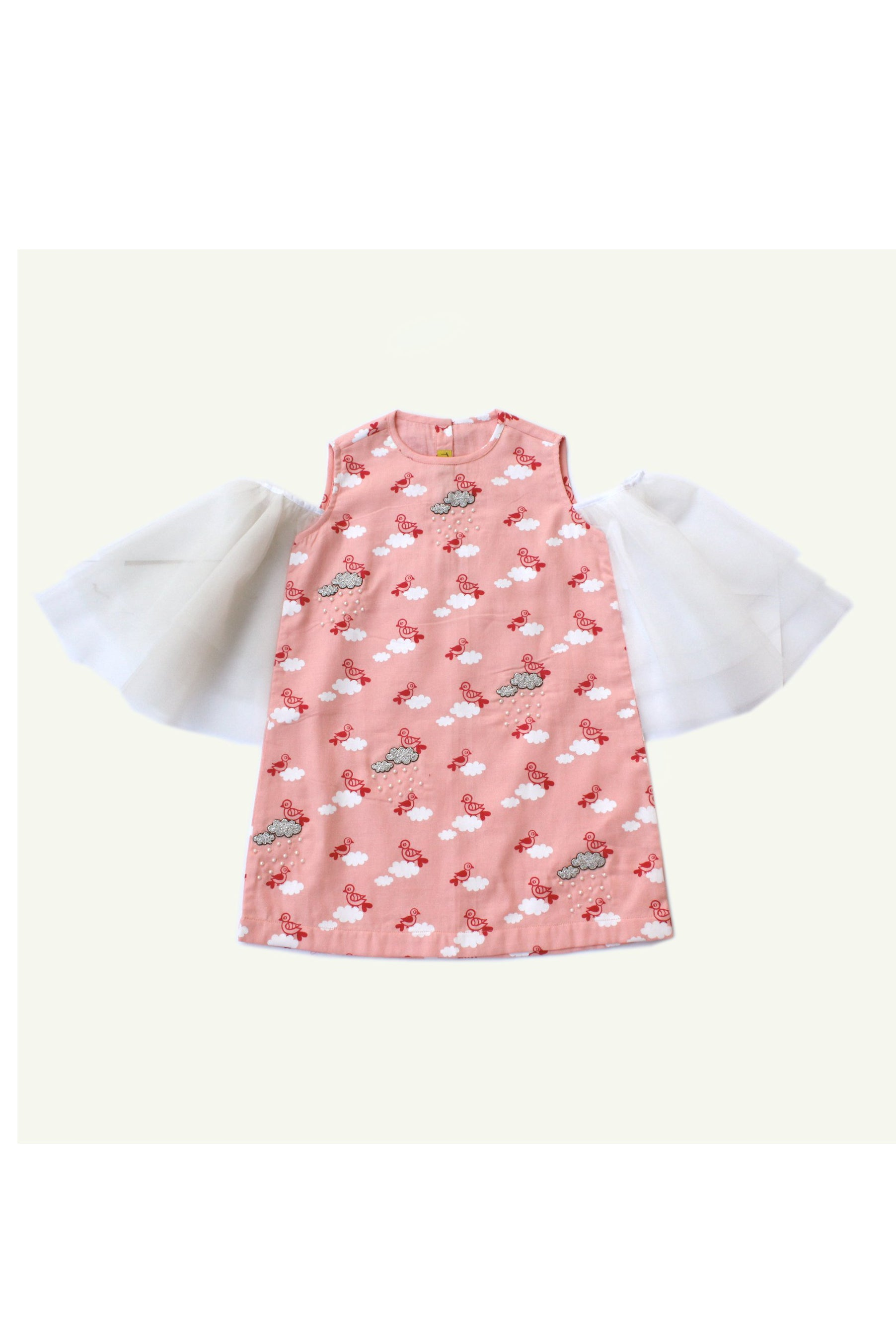 Girl Pink Cloud Print Dress