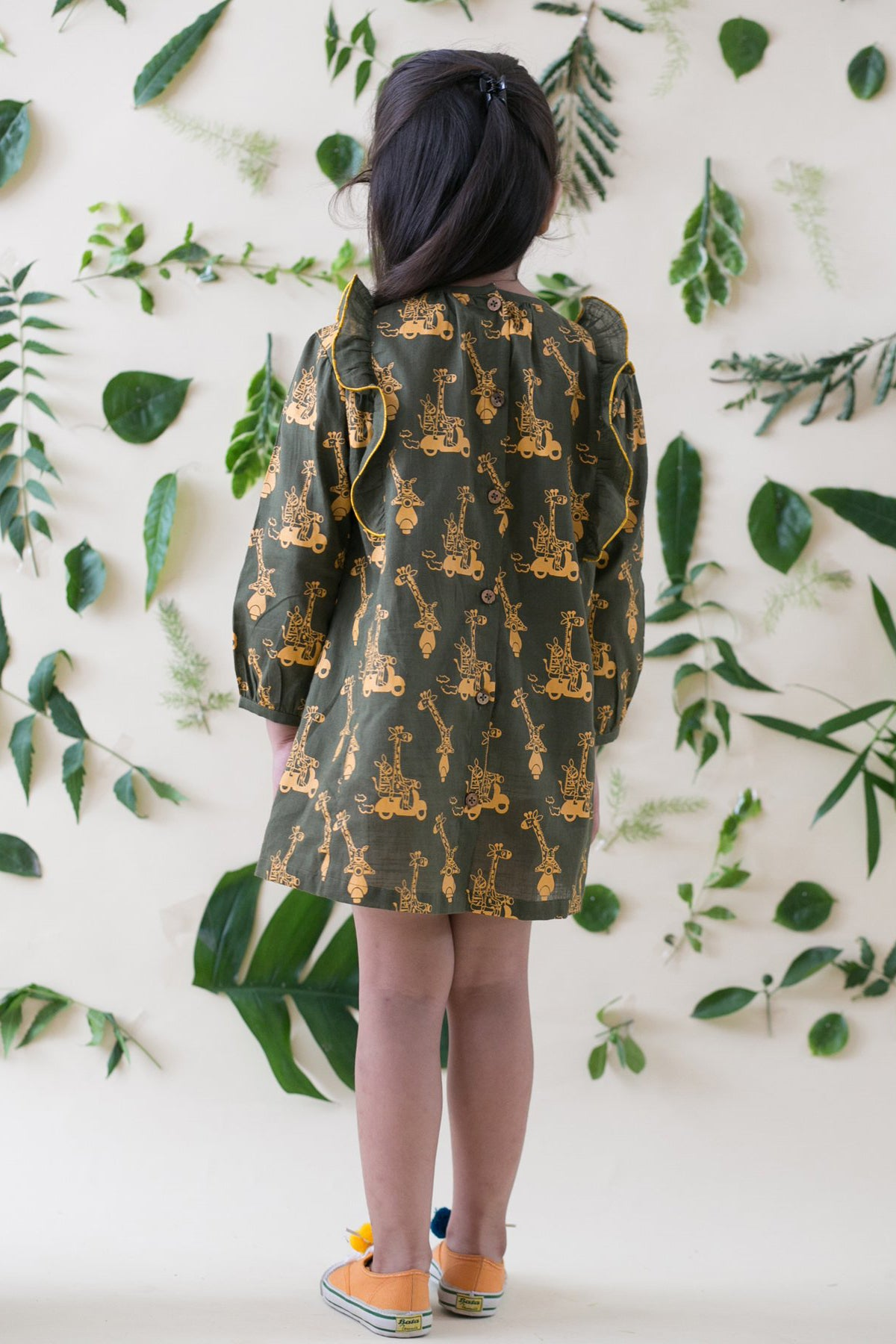 Girl Jungle Print Olive Dress