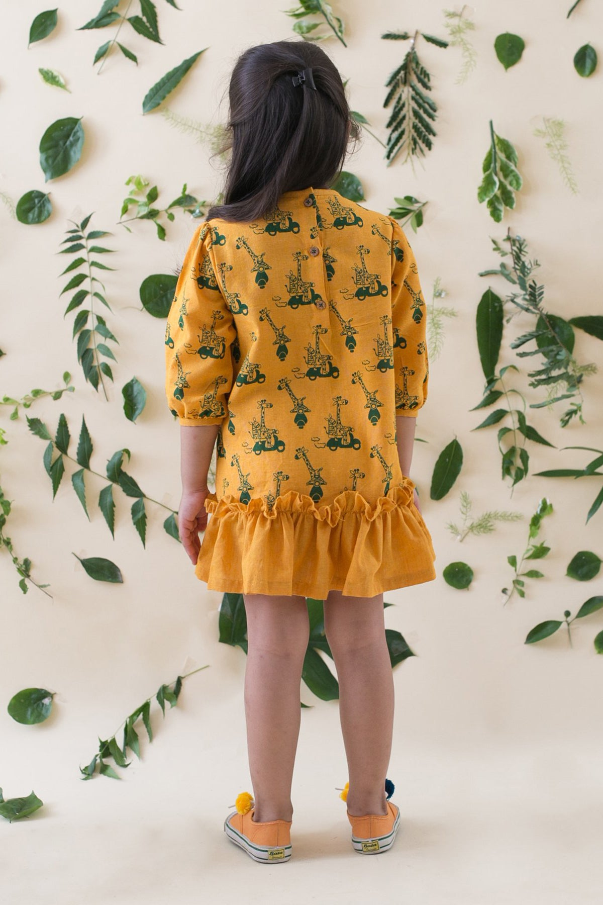 Girl Jungle Print Mustard Dress