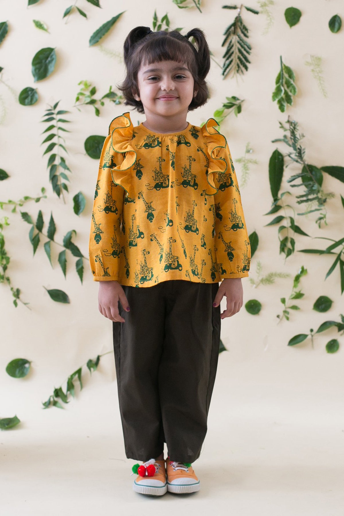 Girl Jungle Print Mustard Top