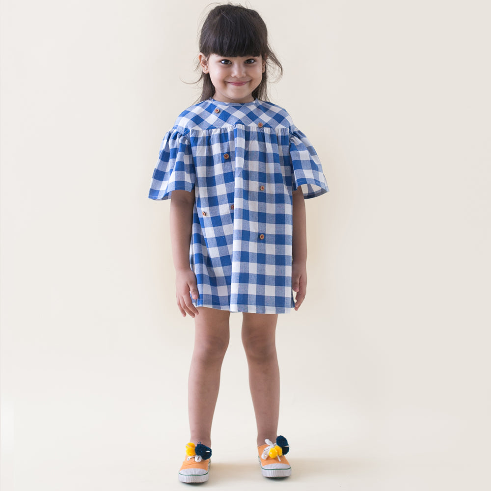 Girl Blue Checks Dress With Felt Toys