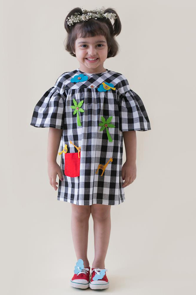 Girl Black Checks Dress With Felt Toys