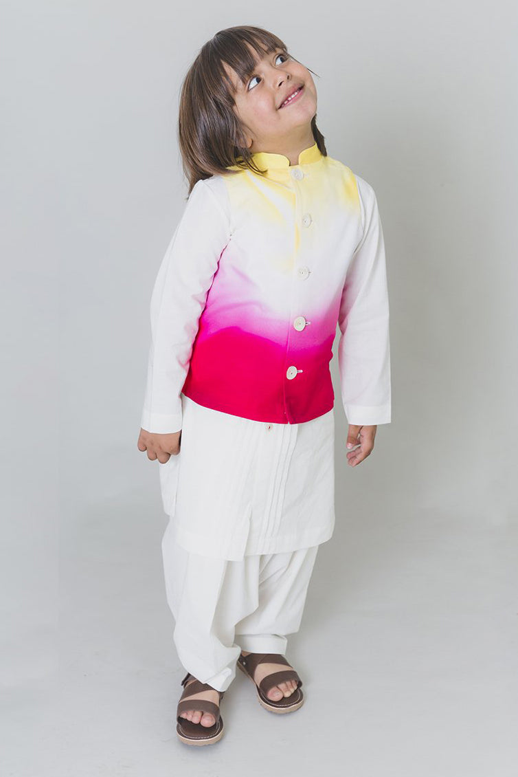 Boys Pink Marble Bundi Kurta Set