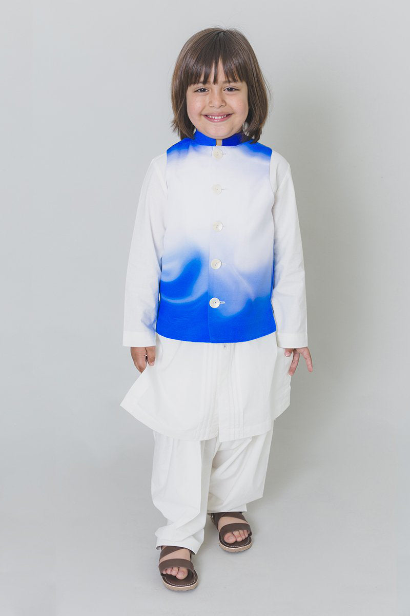 Boys Blue Marble Bundi Kurta Set