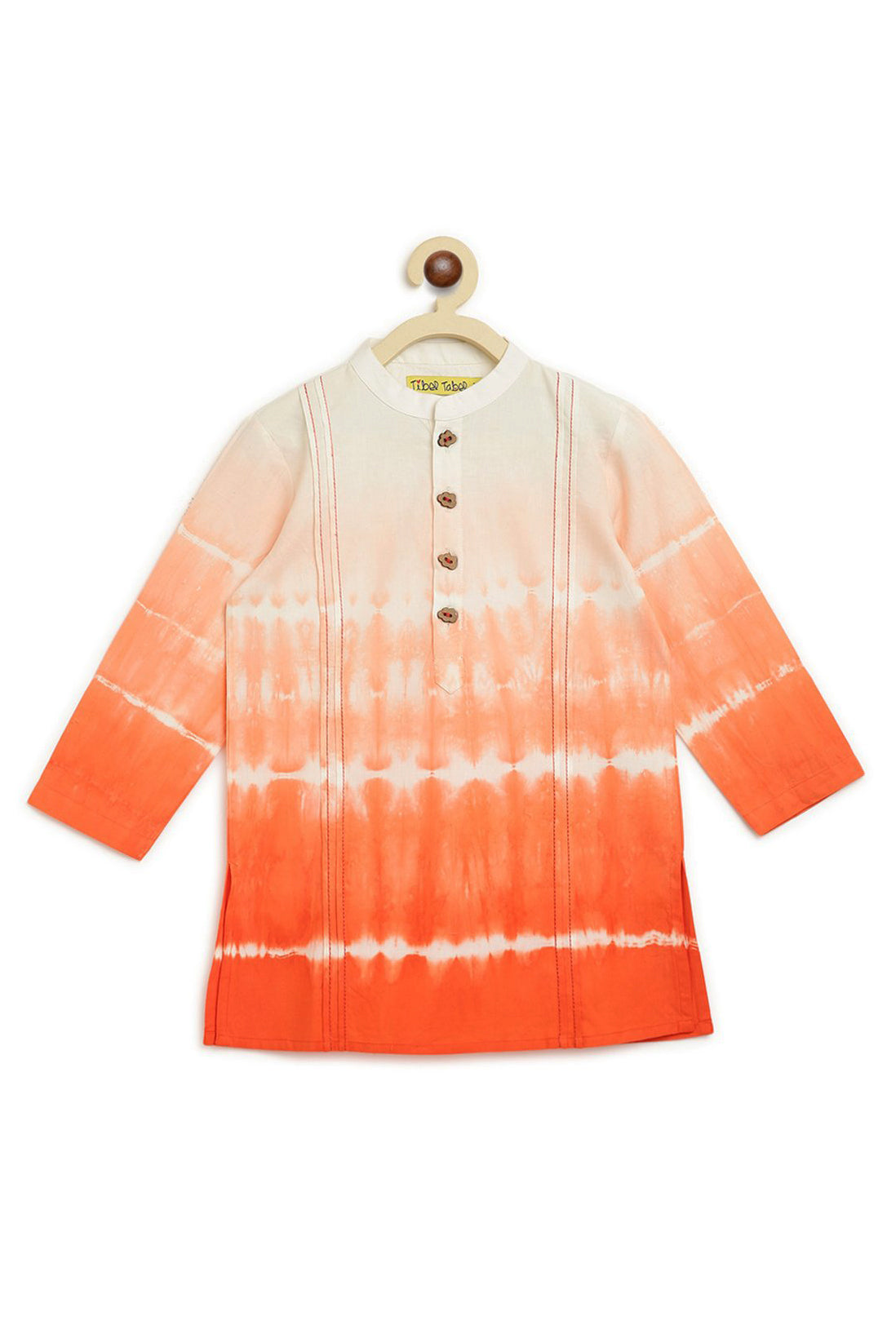 Boys Orange Shibori Kurta