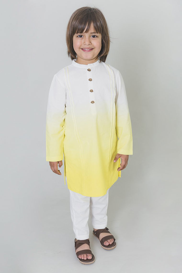 Boys Yellow Ombre Kurta