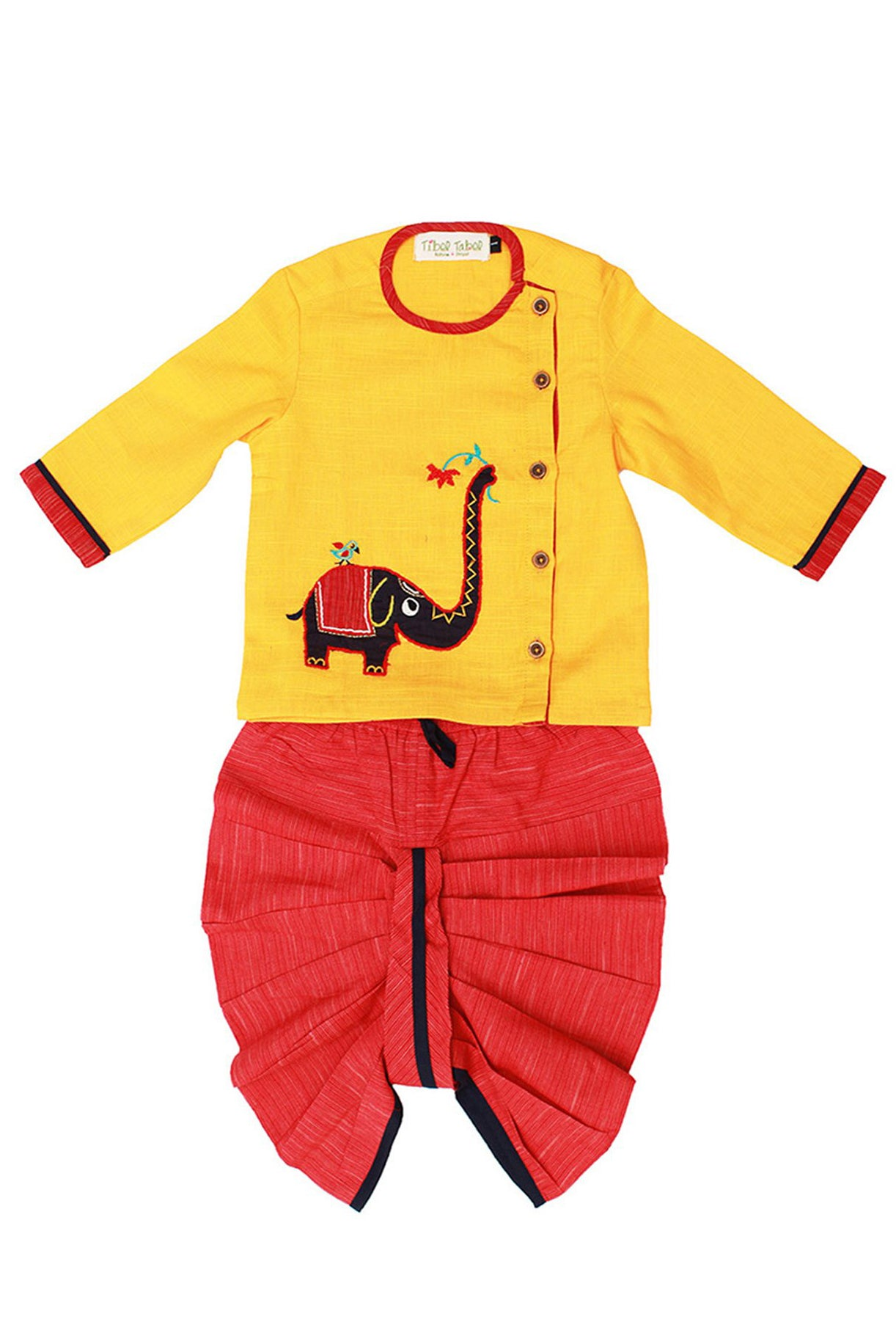 Baby Boy Yellow  Elephant Dhoti Set