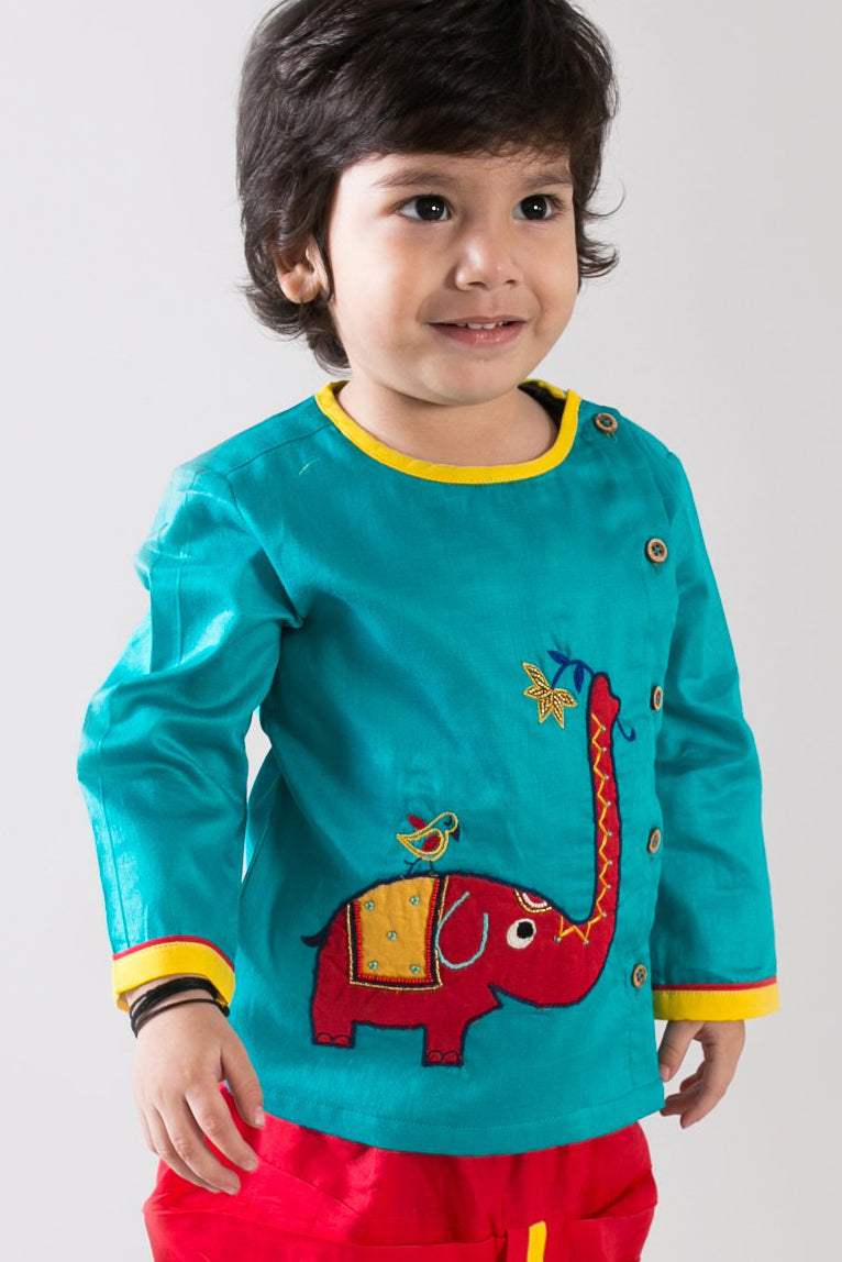 Baby Boy Aqua  Elephant Dhoti Set
