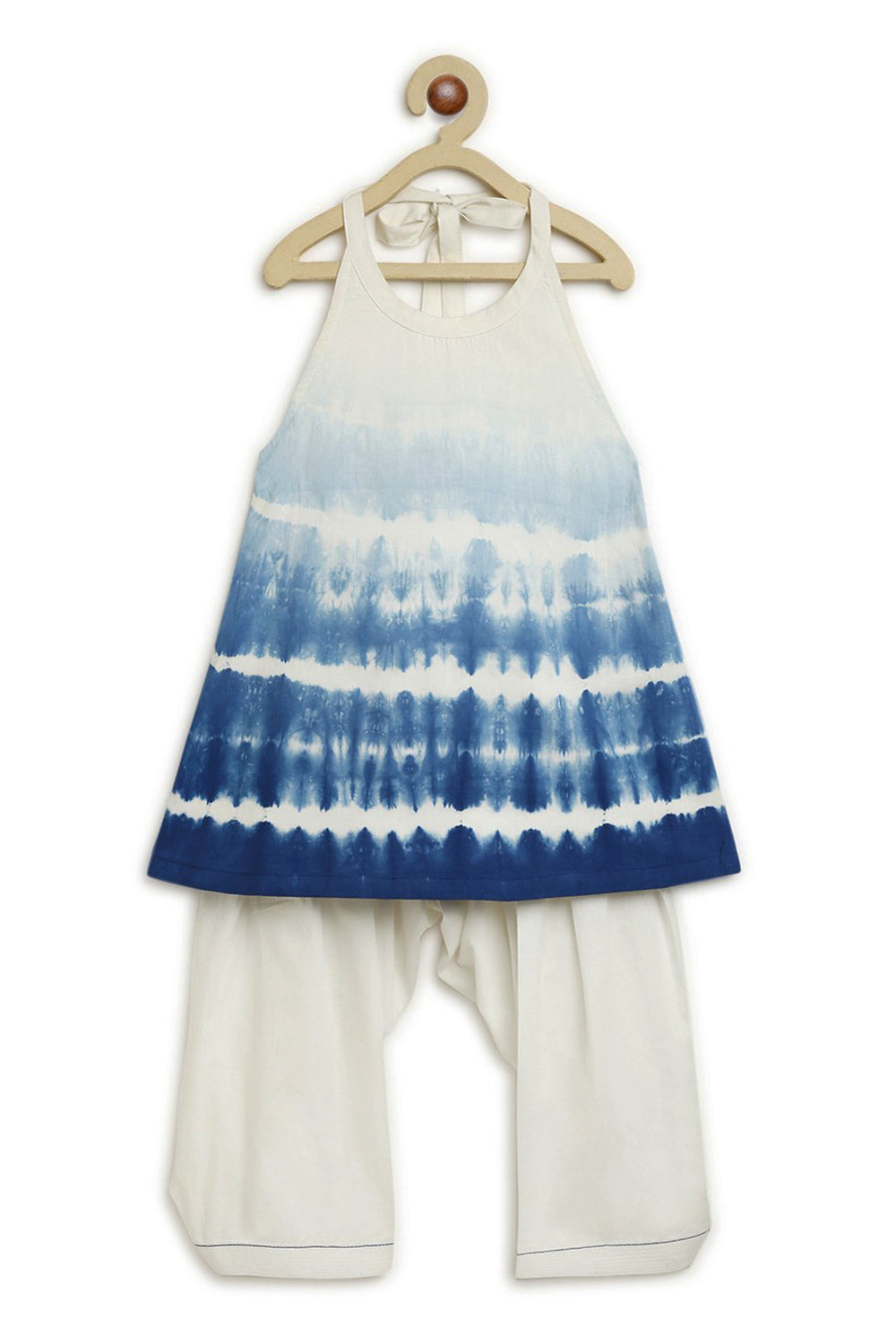 Girls Blue Shibori Top Set