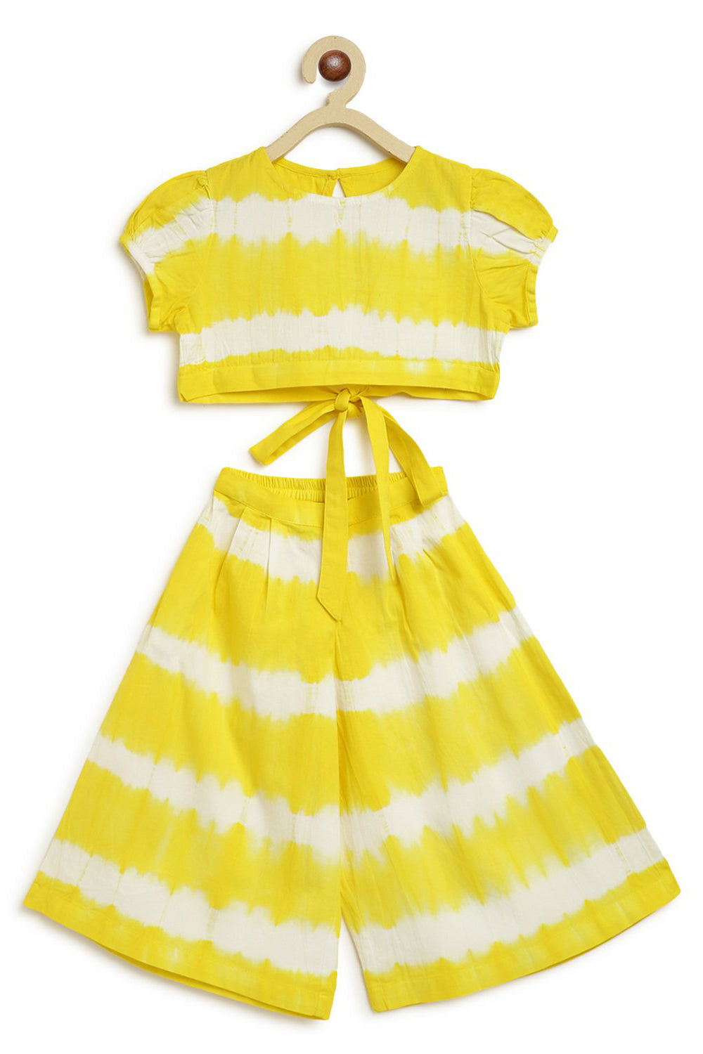 Girls Yellow Stripe Top Set