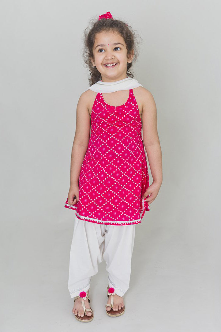 Girls Pink Bandhani Suit Set