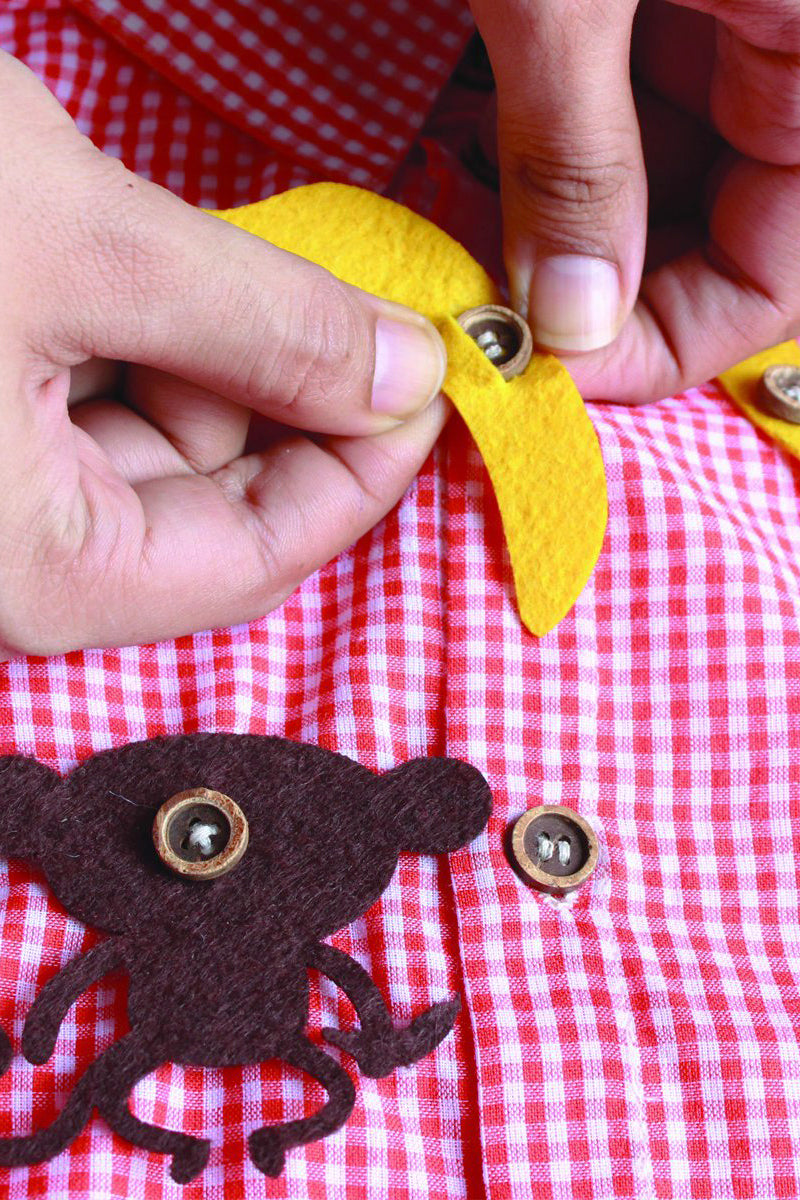 Boy Orange Checks Shirt With Felt Toys