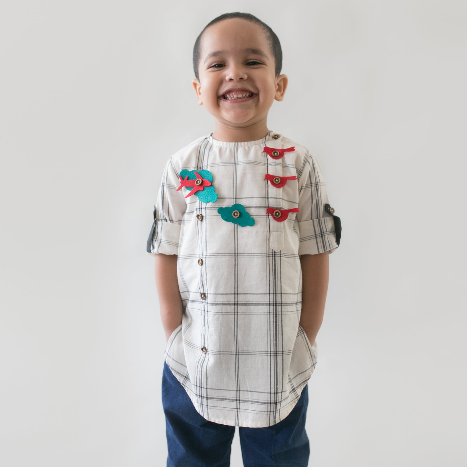 Boy White Checks Shirt With Felt Toys