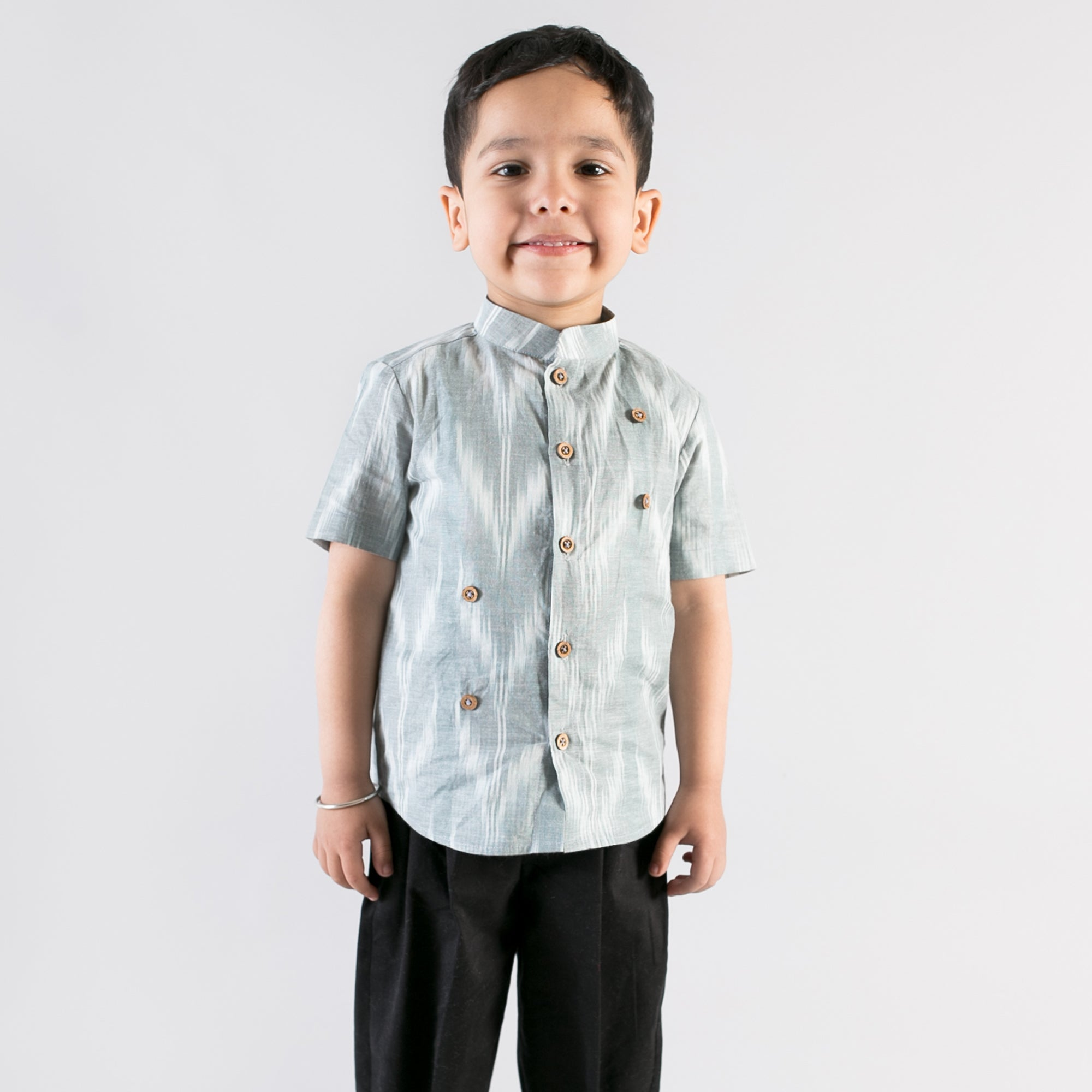 Boy Grey Ikat Shirt With Felt Toys