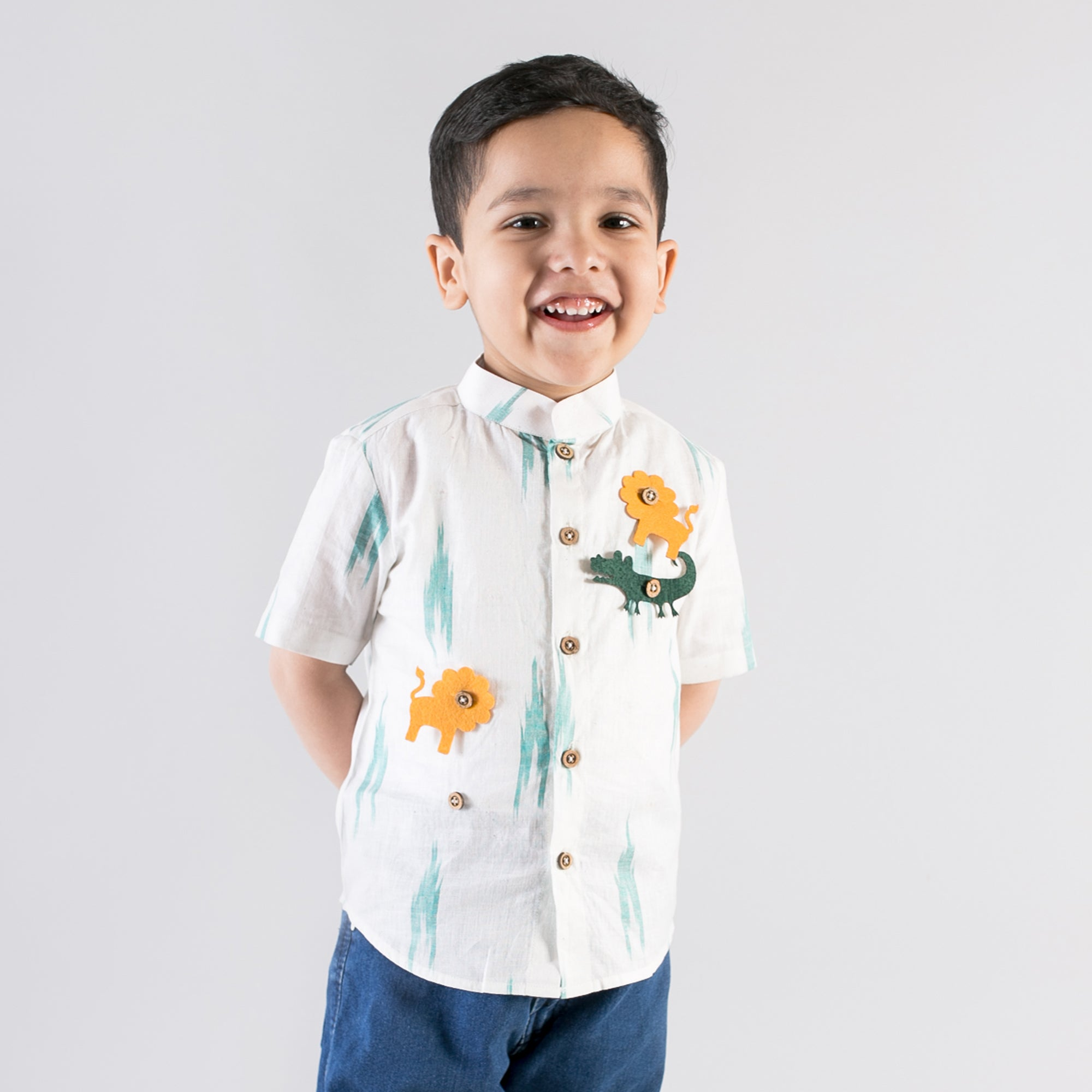 Boy Green Ikat Shirt With Felt Toys