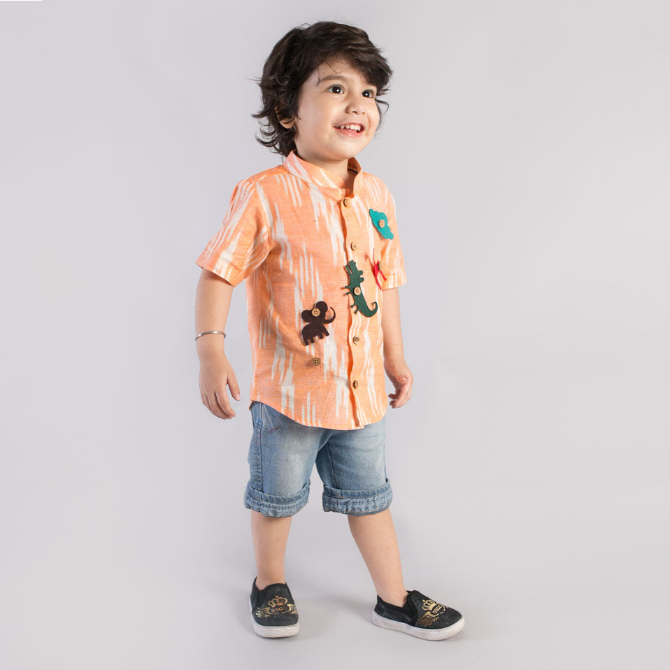 Boy Orange Ikat Shirt With Felt Toys