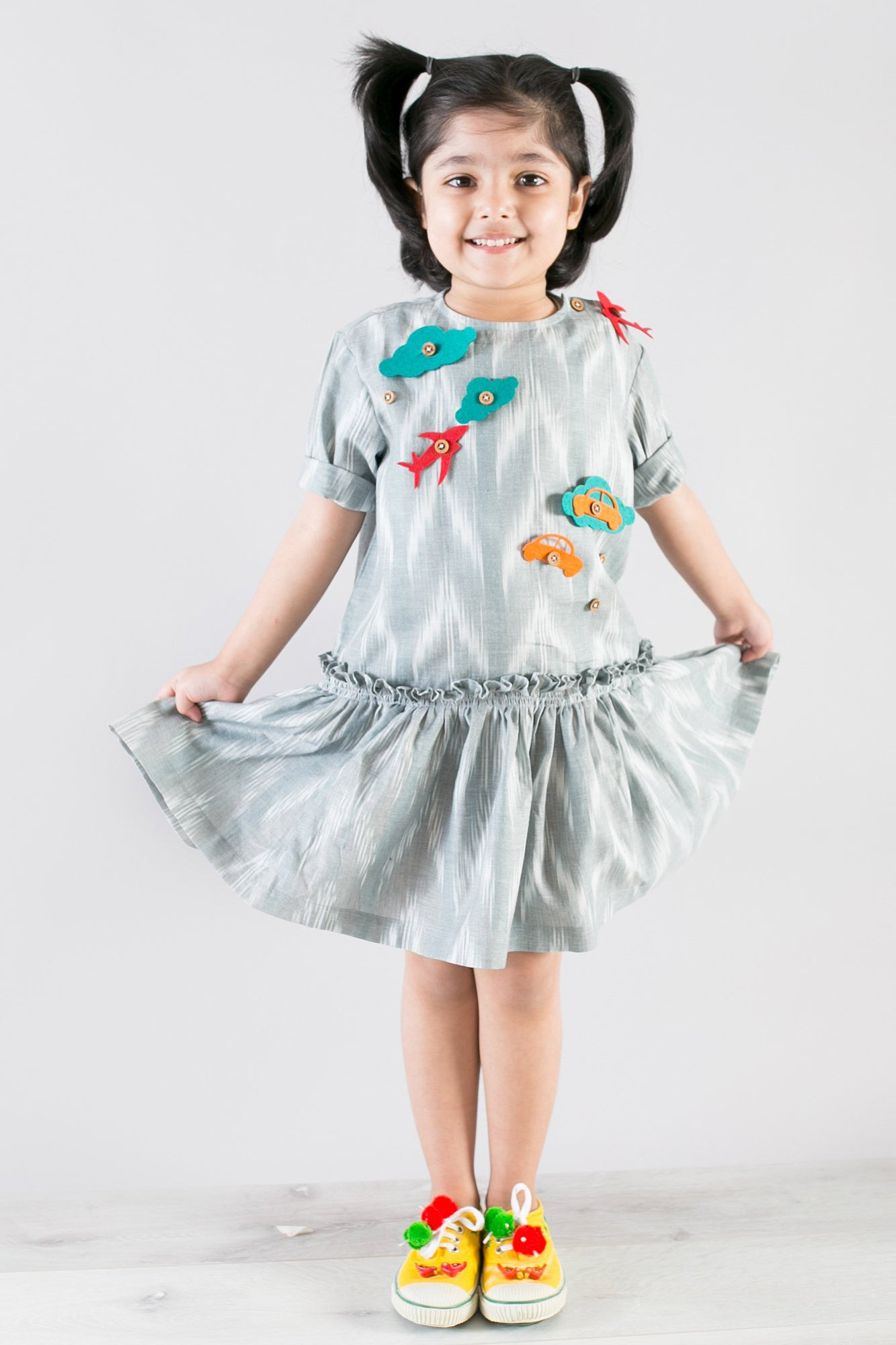 Girl Grey Ikat Dress With Felt Toys