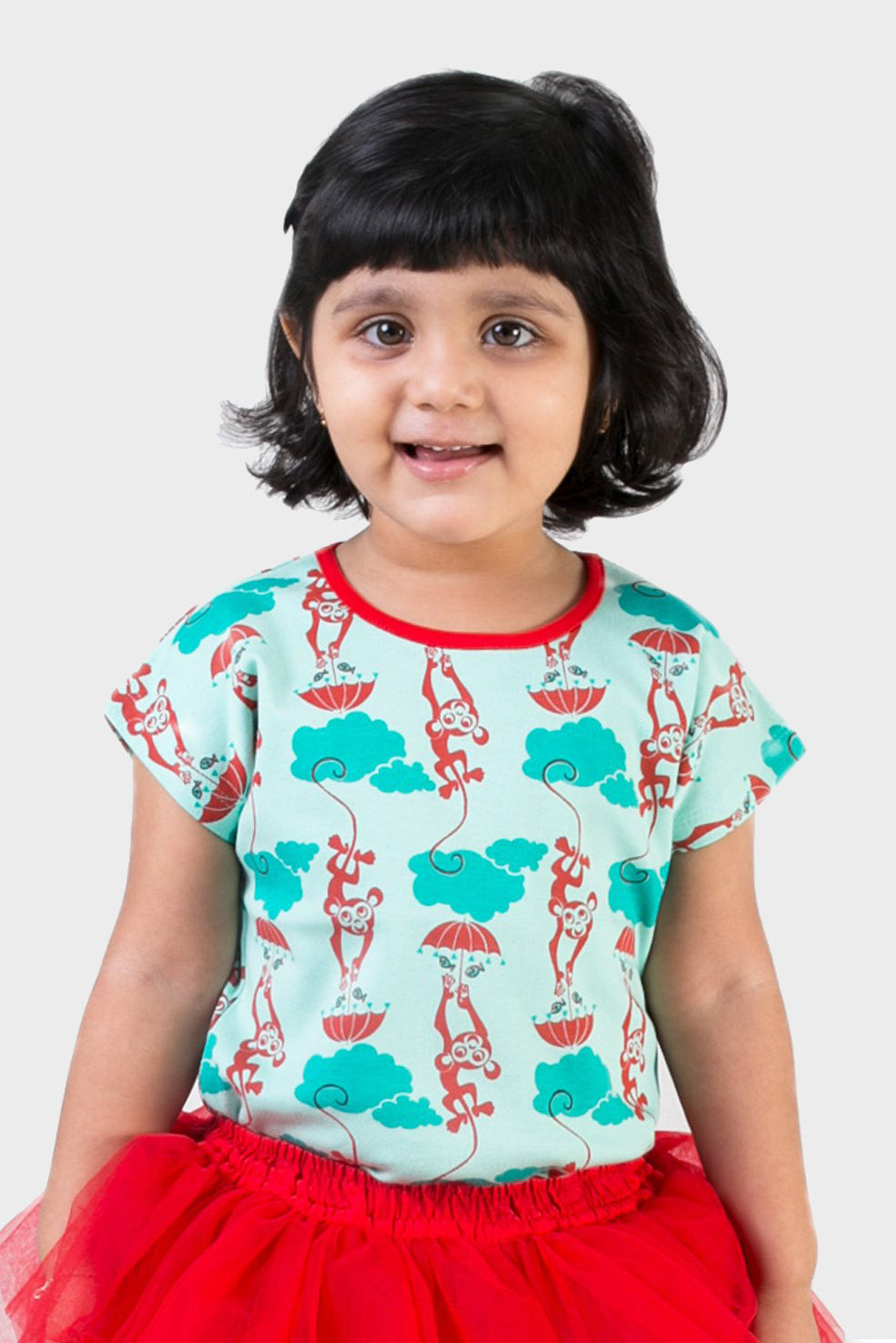 Girl Blue Monkey Top