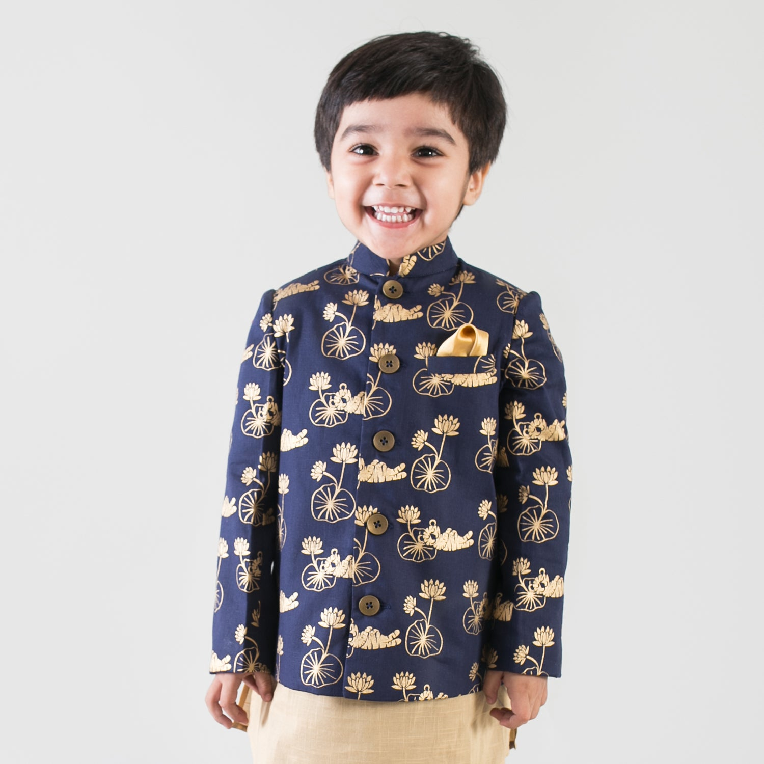 Boy Blue Tiger Print Nehru Jacket