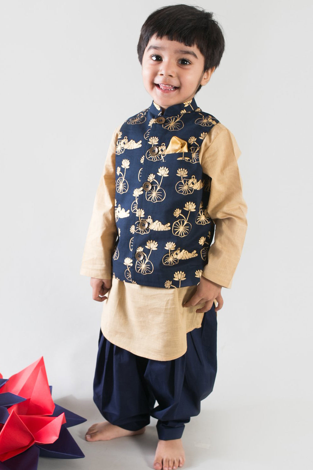Boy Blue Tiger Print 3Pc Bundi Set