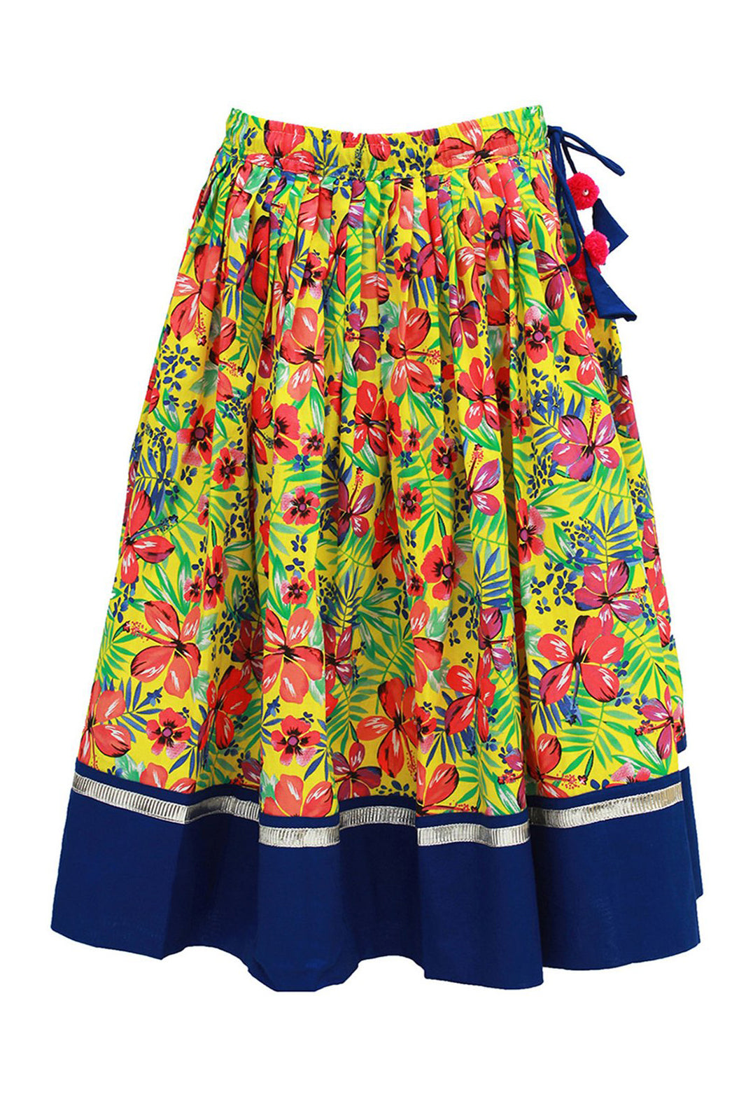 Girl blue tropical print lehenga set