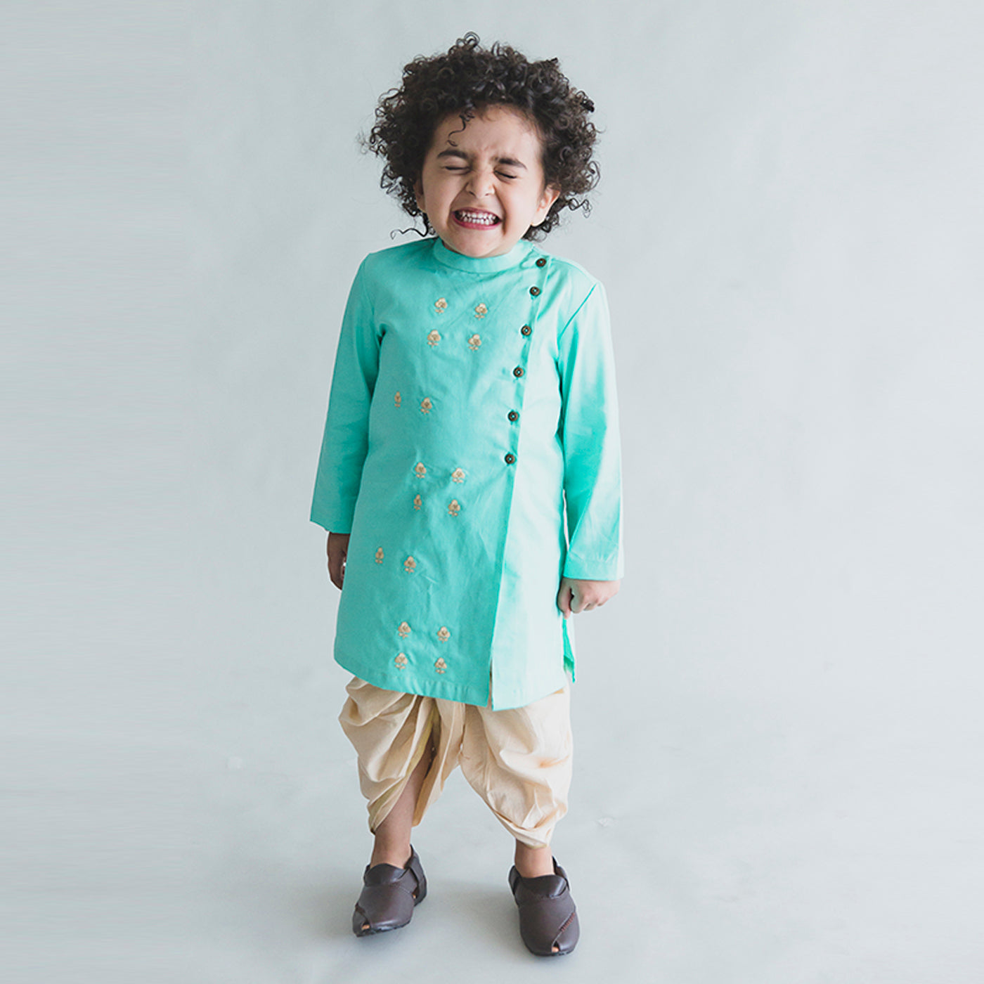 Boy Sea Green Nawab Buta Kurta Dhoti Set