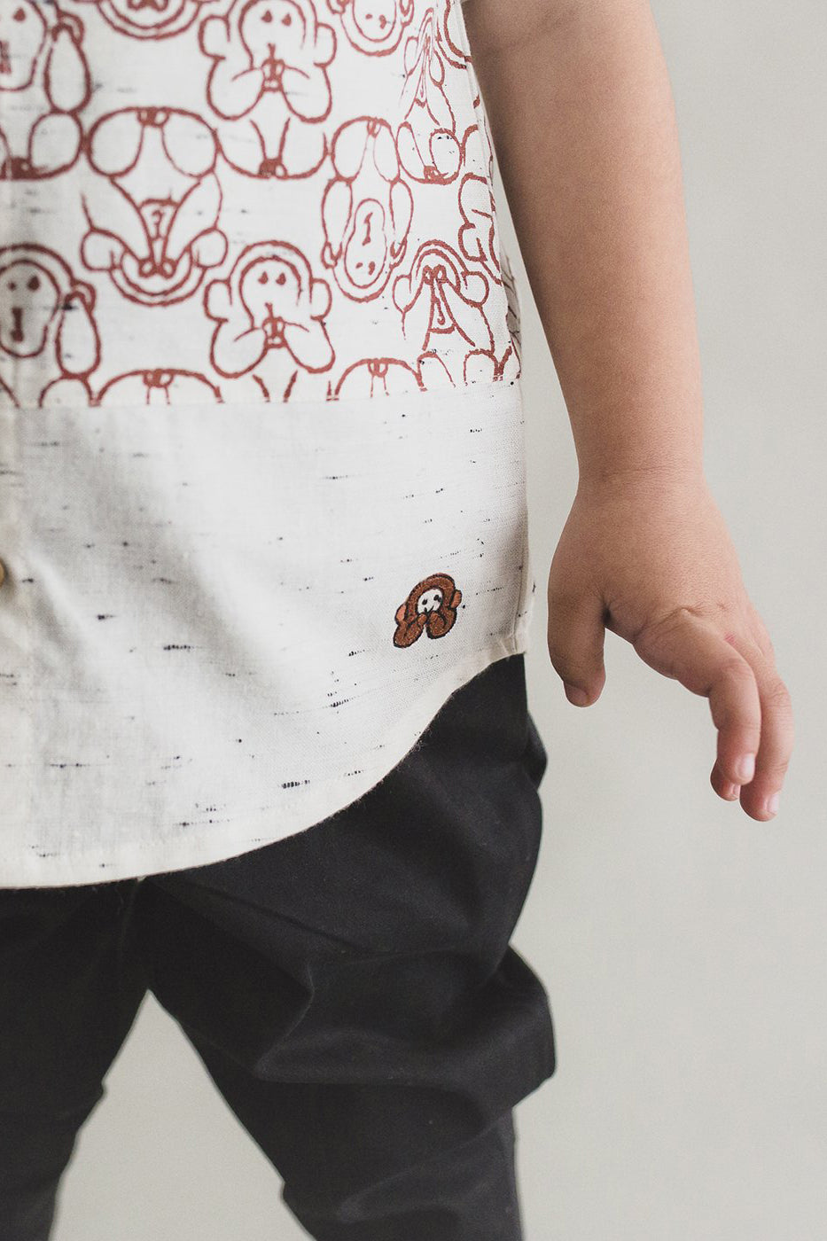 Boy White Monkey Print Shirt