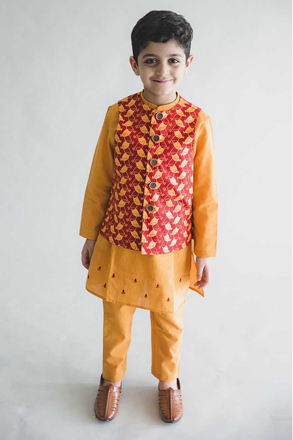 Boy Rust Bird Bundi 3 Pc Kurta Set