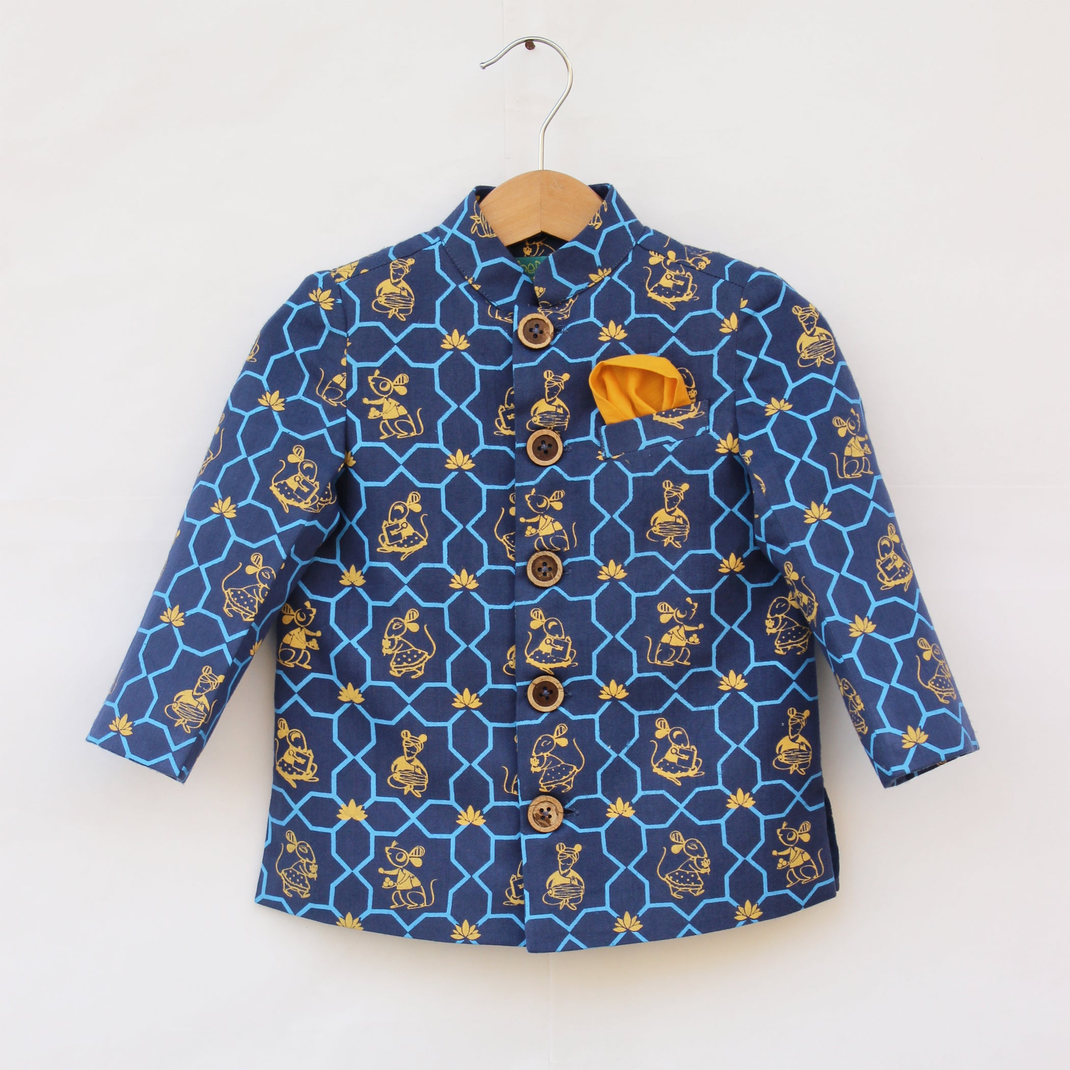 Boy Blue Mouse Print Bandhgala