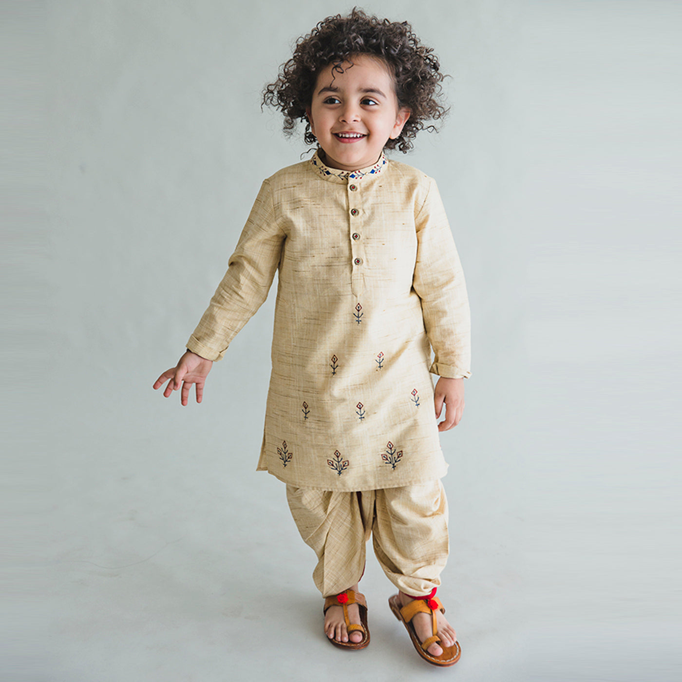 Boy Beige Persian Kurta Dhoti Set