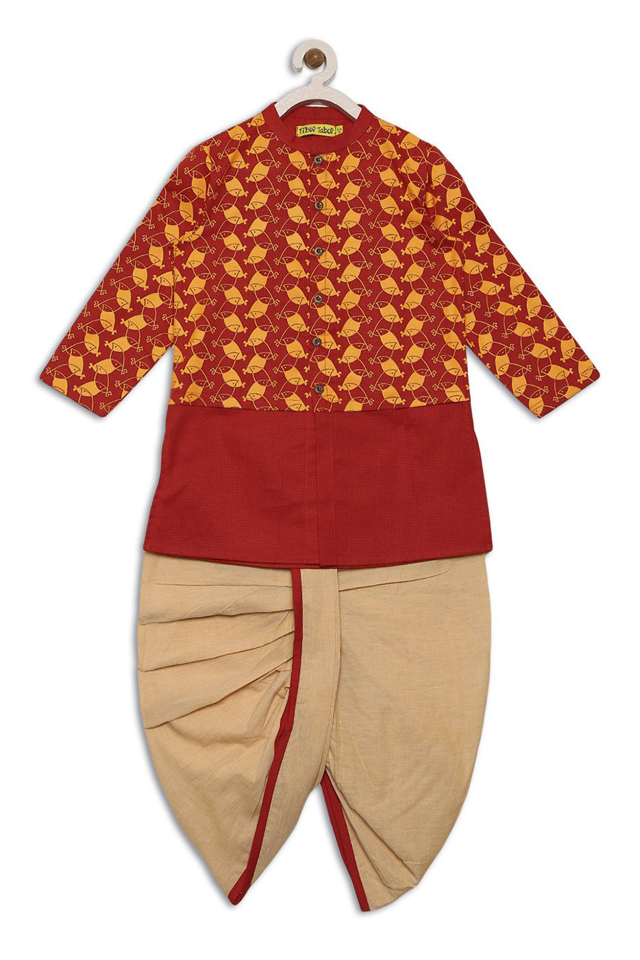 Boy Red Bird Print Kurta Dhoti Set