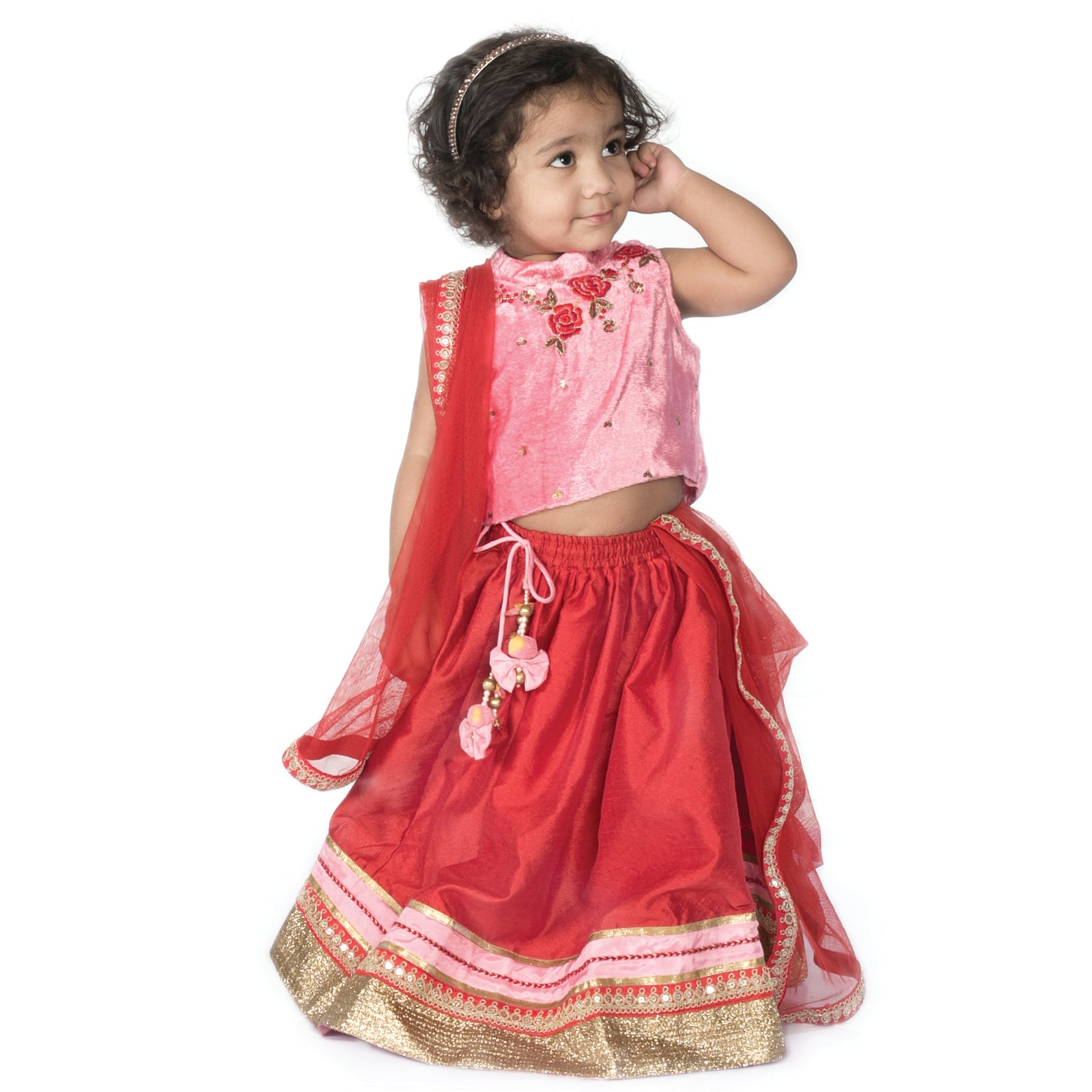 Girl red rose lehenga set
