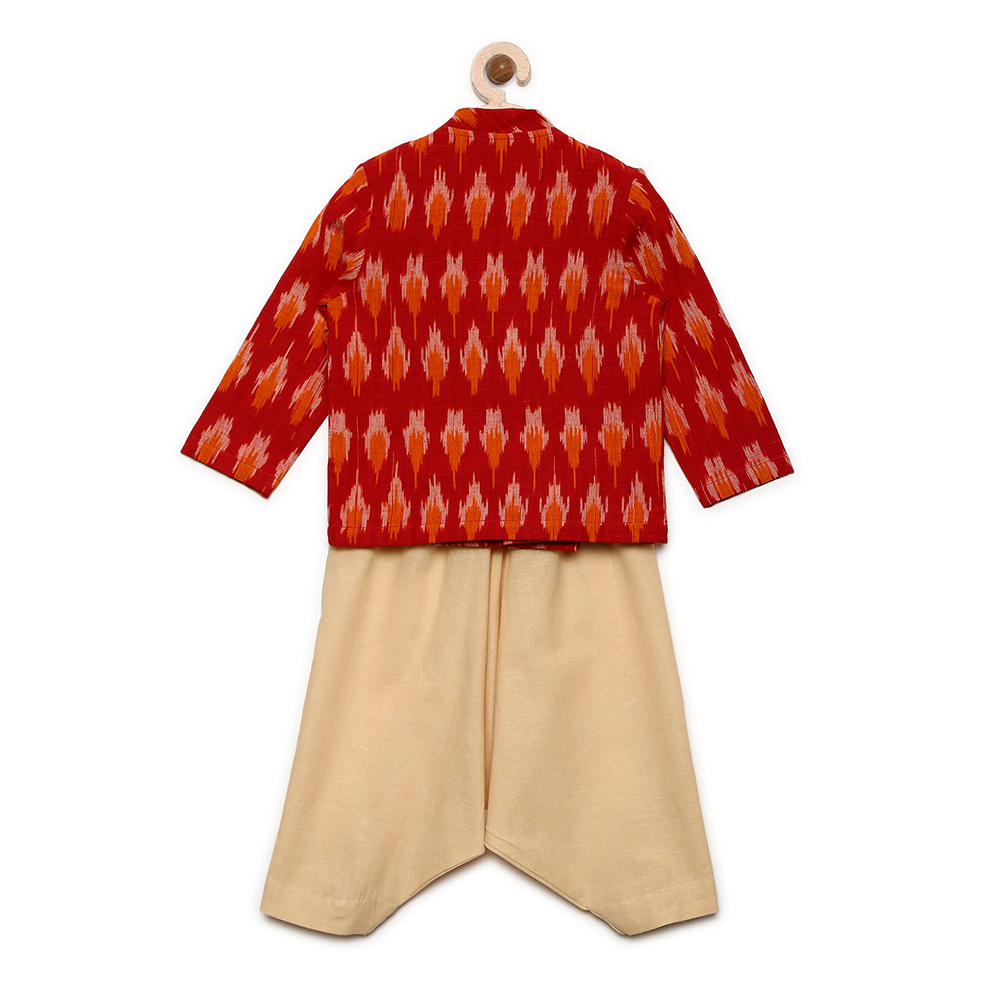 Boy Red Ikat Overlap Kurta Dhoti Set