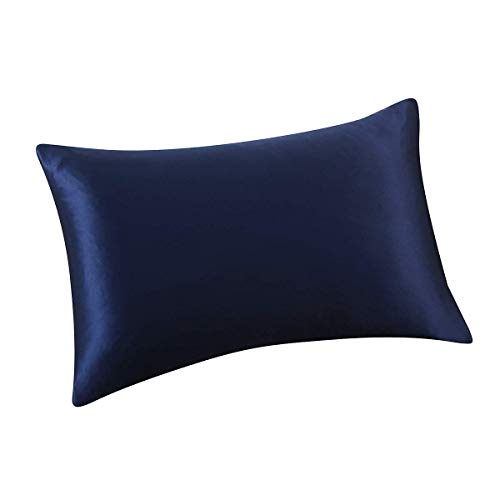 ALASKA BEAR Natural Silk Pillowcase Hypoallergenic 19 Momme 600 Thread Count 100 Percent Mulberry Silk Queen Size with Hidden Zipper1 Navy Blue POj-B01GPPXH3A