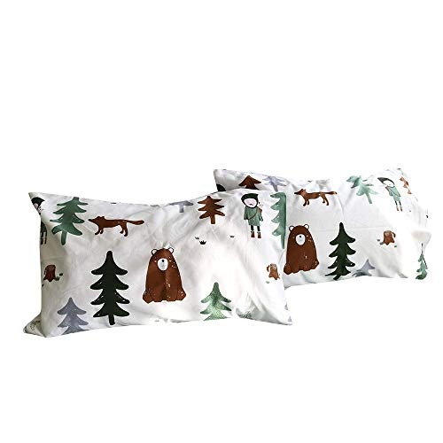 BuLuTu Cotton Siberia Forest Theme Bed Pillowcases Set of 2 Queen WhiteGreen Kids Pillow Covers Decorative Standard for Boys Envelope Closure EndPremiumUltra SoftHypoallergenic 2 Pieces2026 Y5H-B073VM6KVK
