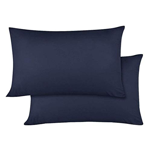 Ambition Home Toddler Pillowcase 14x20 Navy Blue Solid Zipper Closure Pillowcase Set of 2 Travel Pillow case 500 Thread Count 100 Egyptian Cotton Decorative Baby Pillow Cover wda-B081LQNR75