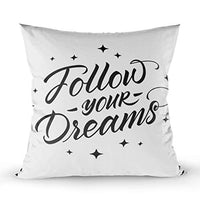 ROOLAYS Pillow Covers 18X18 Inch Square Throw Pillowcase Covers 2PCS Follow Your Dreams Inspirational Typographic Calligraphy Poster Both Sides Farmhouse Decor CushionMulti Gray eHa-B07RX757V5