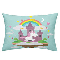 ARL HOME Unicorn Bedding 3PC Queen Size Unicorn Duvet Cover Kids Girls Bedroom Cartoon Bed Set Cute Rainbow Unicorn Quilt Cover with 2 Pillowcase Soft Cute Castle Unicorn Comforter Cover Mint Green bFl-B07VYRB6YD