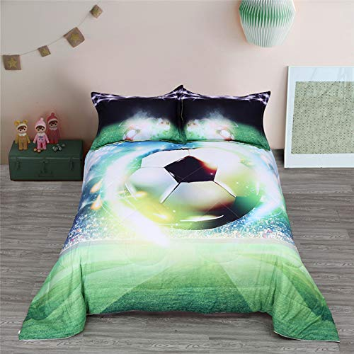 Wowelife Soccer Comforter Twin Green Kids Shooting Soccer Theme Comforter 5 Piece with Comforter Flat Sheet Fitted Sheet and 2 Pillow CasesSocccerPattern B Twin URo-B07VQFZS6X