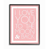 The Kids Room by Stupell I Love You to The Moon and Back On Pink with White Border Black Framed Wall Art 11x14 MultiColor