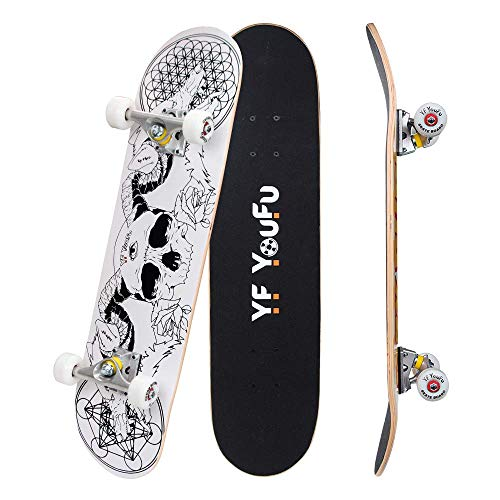 YF YOUFU Complete Skateboards 31 inch Pro Skateboard for BoysGirlsKidsYouthAdults Tricks Skate Board for Beginners Pro Double Kick 7 Layer Canadian Maple Wood Concave Skateboard buG-B07V223QJ9