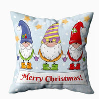 ROOLAYS Farmhouse Throw PillowChristmas Couch Cover Square Both Sides Pillow Covers 18X18Inch Pack 2 Greeting Christmas Card with Cute Cartoon Drawn Holding Hands Garland tXX-B07Z4SCMH9