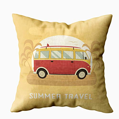 Sofa Pillow CasesEMMTEEY 18x18 Pillow Covers Home Throw Pillow Covers for SofaSquare Double Sided PrintingSurfing bus on palm beach Travel coach summertime concept Travel omnibus old vintage red colo ydM-B07S5QY94W
