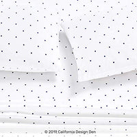 400 Thread Count 100 Cotton Sheets in Navy Dot Printed Queen Size Set 4Piece Longstaple Combed Cotton Best Quality Sheets For Bed Breathable Sateen Weave Fits Mattress Upto 18 Deep Pocket SuG-B07BBLYP6V