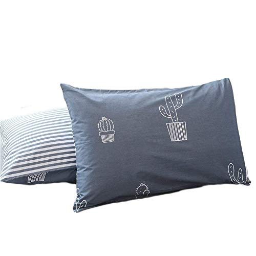 PinkMemory Gray Blue Kids Pillowcases Standard Size Reversible Cactus Print Striped Pillow Shams 20x26 inches Pack of 2 100 Cotton Envelope Closure ohe-B07D51Y344