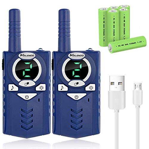 MALENOO Kids Walkie Talkies Rechargeable 5 Mile Easy to Use 3 Channel DesignIncluded Battery and Charger Best Gifts Top Toys for Boy Girls Age 3 4 5 6 7 8 9 for Outdoor Adventure Game bpm-B07VR4H5SQ