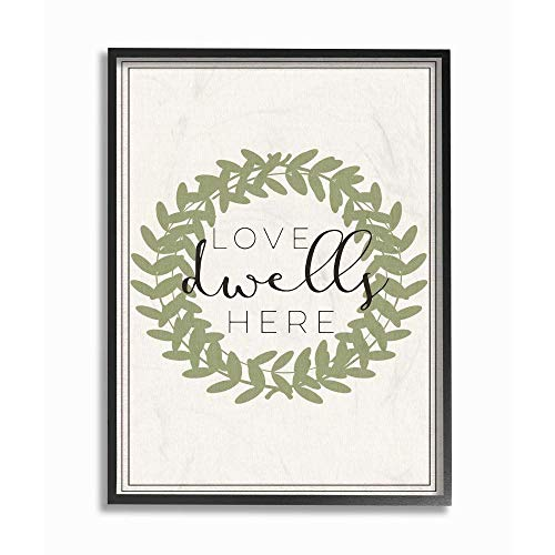 Stupell Industriesfwp101fr11x14Love Dwells Here Boxwood WreathFramed Wall Art11 x 14MultiColor